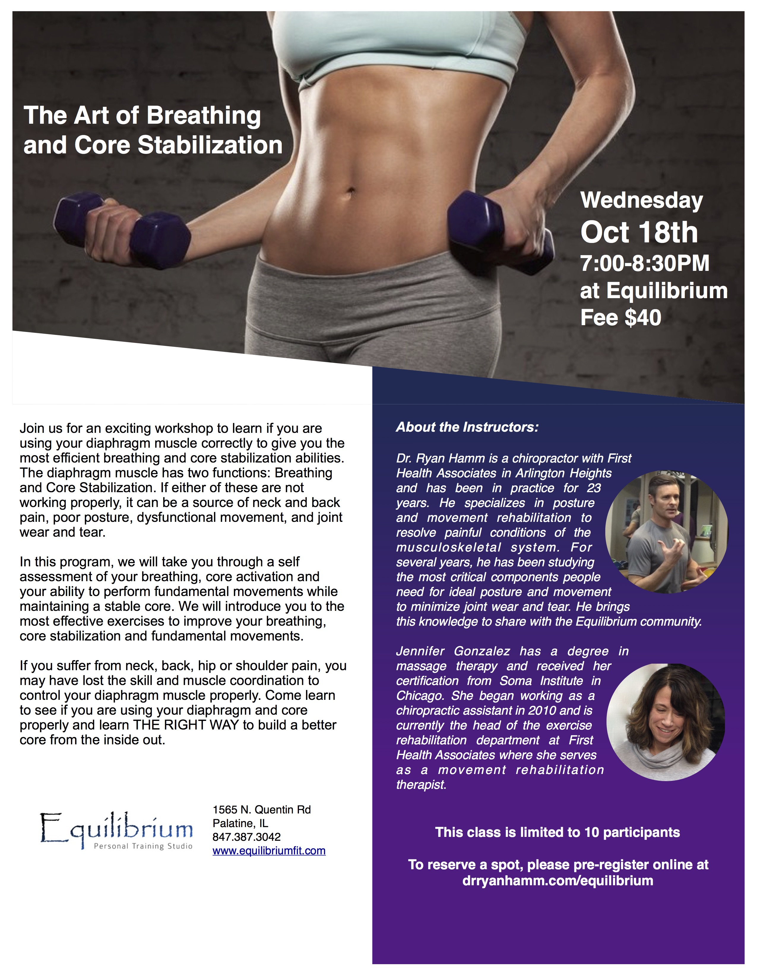 Art of Breathing and Core Stabilization Workshop at