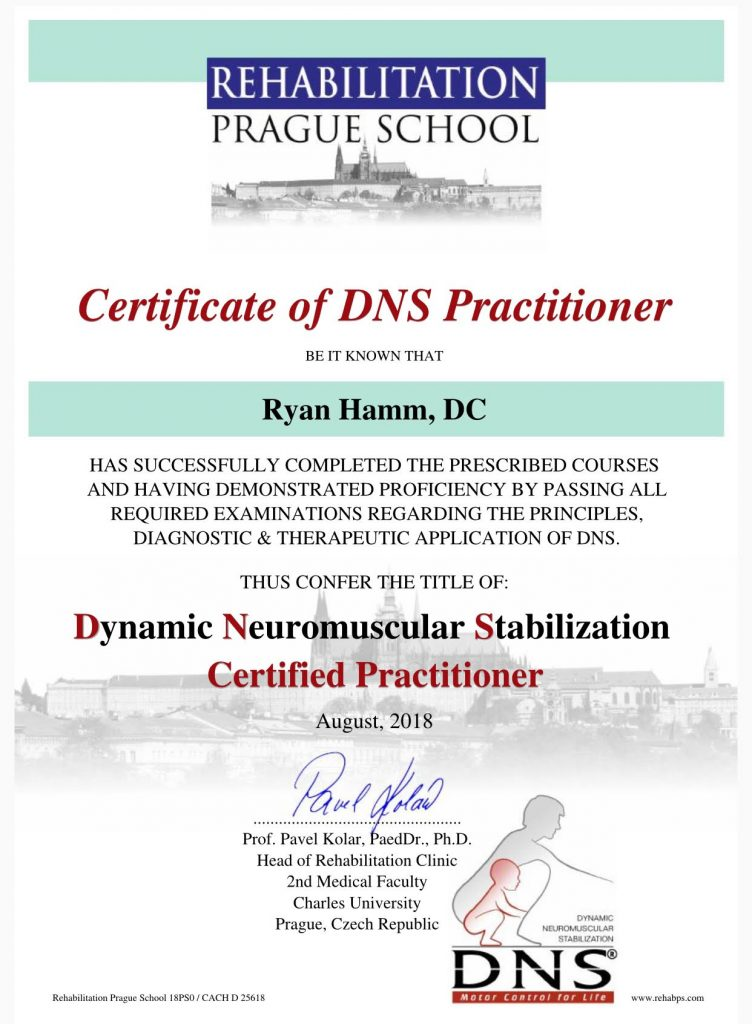 Dr Hamm Receives Certification In Dynamic Neuromuscular